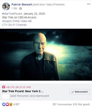 Patrick Stewart Facebook New York Comic Con 2019