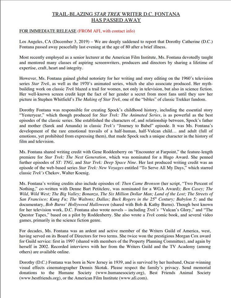 D.C. Fontana verstorben, Mitteilung von David Gerrold