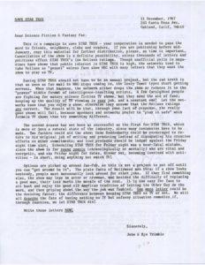 Der Brief von Bjo und John Trimble zur Rettung von Star Trek